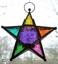 STAR LANTERN MOROCCAN GLASS STYLE HANGING T LIGHT 8 COLOURS Available FAIR TRADE