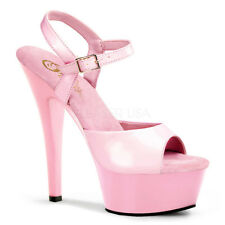 Pleaser KISS-209 Platforms Exotic Dancing Baby Pink Patent Ankle Strap Heels