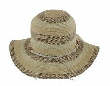 The Hat Company Ladies Wide Brim Striped Straw Sun Hat with beads S226