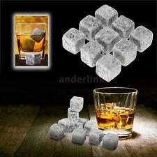 New 9pcs Whisky Ice Stones Wine Drinks Cooler Cubes Whiskey Rocks Granite Y6O1