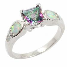 Women's .925 Sterling Silver CZ Opal Promise Ring Wedding Band Size 6/7/8/9 T4Z2