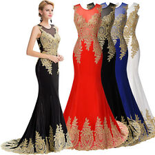Long Mermaid Appliques Bridesmaid Dress Evening Formal Party Cocktail Prom Gown