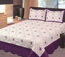 @homechoice 3pc Bedspread Embroidery Floral polyester Queen King Calking Purple