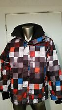 New Quiksilver DryFlight 10K Ski Snow rain waterproof hooded Check Jacket coat