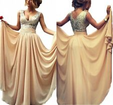 Women Long Chiffon Sexy V Neck Sequined Prom Evening Dresses Cocktail Party Gown