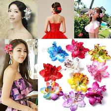Bridal Wedding Orchid Flower Hair Clip Barrette Brooch Womens Hair Accessories