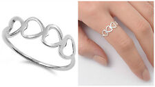 Sterling Silver 925 FOUR HEARTS DESIGN SILVER PROMISE RING 6MM SIZES 4-10