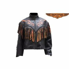 Womens Leather Jacket With Studs & Fringe Made from leather Great Deal