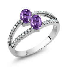 1.11 Ct Oval Purple Amethyst Two Stone 925 Sterling Silver Ring