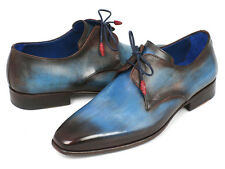 Paul Parkman Men's Blue & Brown Hand Painted Derby Shoes - Hand Made