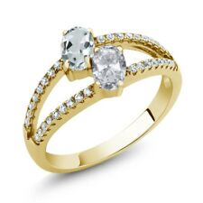 1.34 Ct Aquamarine White Topaz Two Stone 18K Yellow Gold Plated Silver Ring