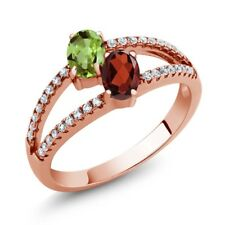1.41 Ct Oval Green Peridot Red Garnet Two Stone 18K Rose Gold Plated Silver Ring