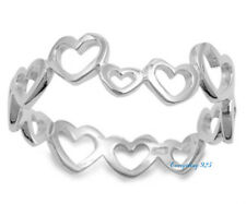 Sterling Silver 925 ETERNITY HEARTS SILVER DESIGN PROMISE RING 7MM SIZES 4-10