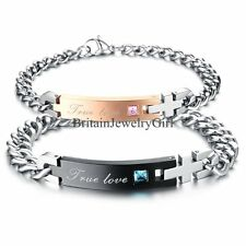 His and Hers Lover Stainless Steel True Love Chain Cuff Bangle Bracelet Gift