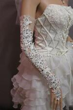 Fashion Sexy beaded lace flower white long fingerless wedding Bridal Gloves