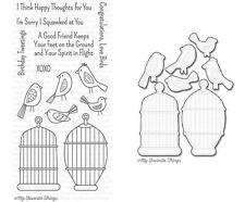 My Favorite Things TWEET FRIENDS Dies, Clear Stamps Birds, Cages Happy Thoughts