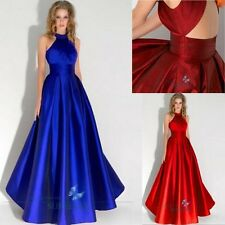Halter Long Satin Formal Bridesmaid Dress Party Gown Cocktail Prom Evening Dress
