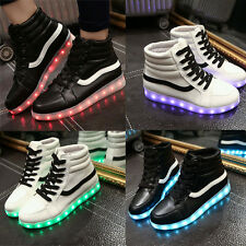 High Top LED Light Lace Up Unisex Luminous Shoes Sportswear Sneaker Casual Shoes