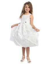 NEW CC D-593 Pageant Party Flower Girl Dress Fuchsia, White, Ivory Sizes 2 - 12