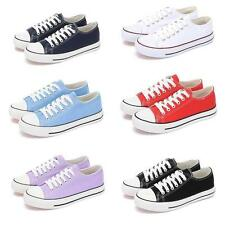 Womens Trainer Athletic Sneakers Low Top Lace Up Solid Flats Casual Canvas Shoes