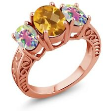 2.90 Ct Checkerboard Citrine and Mystic Topaz 18K Rose Gold Plated Silver Ring