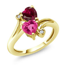 1.79 Ct Pink Created Sapphire & Created Ruby 18K Yellow Gold Plated Silver Ring