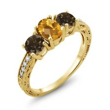 1.74 Ct Checkerboard Citrine and Smoky Quartz 18K Yellow Gold Plated Silver Ring