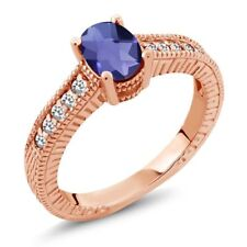 0.87 Ct Checkerboard Blue Iolite White Sapphire 18K Rose Gold Engagement Ring