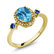 1.77 Ct Oval Swiss Blue Topaz and Sapphire 18K Yellow Gold Plated Silver Ring