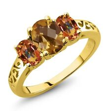2.15 Ct Oval Checkerboard Quartz Mystic Topaz 18K Yellow Gold Plated Silver Ring