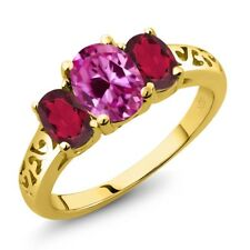 2.65 Ct Pink Created Sapphire Mystic Topaz 18K Yellow Gold Plated Silver Ring