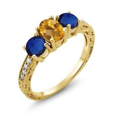 2.02 Ct Oval Checkerboard Yellow Citrine Simulated Sapphire 14K Yellow Gold Ring