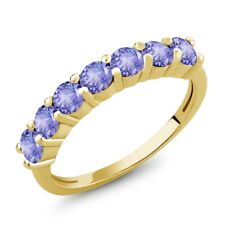1.26 Ct Round Blue Tanzanite 18K Yellow Gold Plated Silver Ring