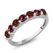 1.46 Ct Round Red Garnet Red Rhodolite Garnet 925 Sterling Silver Ring