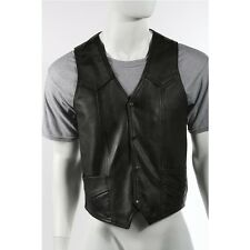 Mens Plain Black Leather Vest From Split Cowhide Leather Great Deal