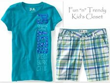 NWT PS Aeropostale Kids Girls Size 7 Plaid Shorts Tee Shirt Top OUTFIT SET LOT