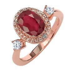 1.67 Ct Oval African Red Ruby White Topaz 18K Rose Gold Plated Silver Ring