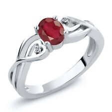 0.66 Ct Oval African Red Ruby White Diamond 925 Sterling Silver Ring