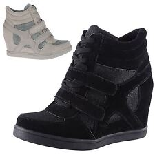 WOMENS TRAINERS LADIES HIGH TOP LACE UP PUMPS SHOES WEDGES HEELS VELCRO SIZE NEW
