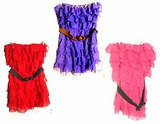 Plus Size 3X - Chesley Strapless Ruffle Dresses in Blue, Red & Pink