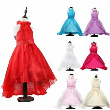 Fashionable Tulle Gown Girls Kids Flower Beads Princess Dress Ball Party Formal