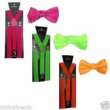 Slim Adjustable Clip-on Braces Suspender and Dickie Bow Tie Set in Bright Colour