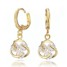 18K Gold Filled Crystal Dangle Huggie Earrings Gm065