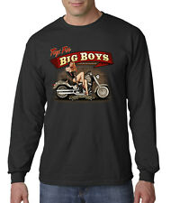 Toys For Big Boys Biker Motorcycle Vintage Pin Up Long Sleeve T-Shirt S-3XL
