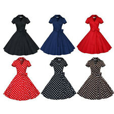 Women Vintage Pinup Hepburn 50's Rockabilly Polkadot Cocktail Party Swing Dress