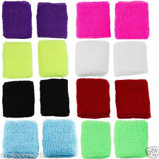 Pair of Sports Wristband Wrist Sweat Band For Sports Various Colour (UK SELLER)