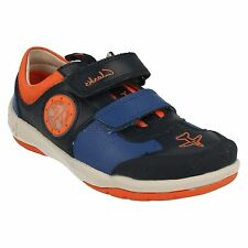 JETSKYBUZZ -BOYS CLARKS NAVY COMBI LEATHER FLY HIGH VELCRO LIGHTS TRAINERS SHOES