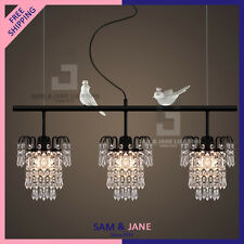 New 3 Lights Juxtapose Crystal Chandelier Black Iron Ceiling Fixture Cuckoo Bird