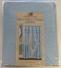 Linen Weave Fabric Double Swag Shower Curtain with Vinyl Liner