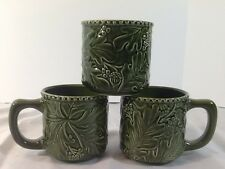 Dutch Wax Coastline Imports Coffee Cocoa Ceramic Floral Green Mug Rare EUC